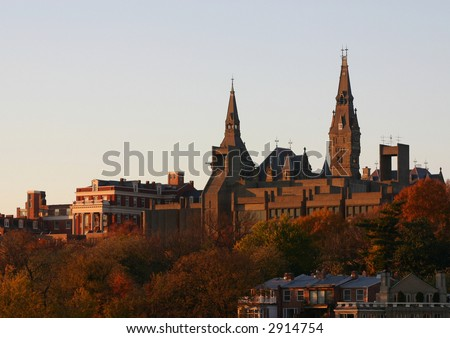 Georgetown University on a clear Autumn evening - stock photo