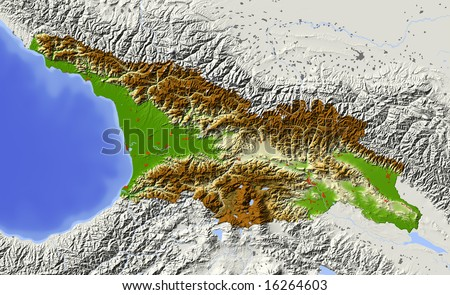 Georgia, caucasian republic. Shaded relief map with major urban areas. Surrounding territory greyed out. Colored according to elevation. Includes clip path for the state area. Data source: NASA