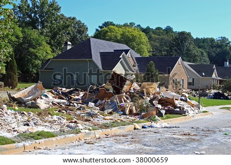 Georgia floods interior damage clean up in subdivison - stock photo