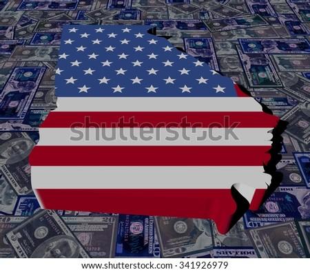 Georgia map flag on dollars illustration - stock photo