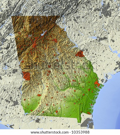 Georgia. Shaded relief map.  Shows major urban areas and rivers, surrounding territory greyed out.  Colored according to relative terrain height. - stock photo