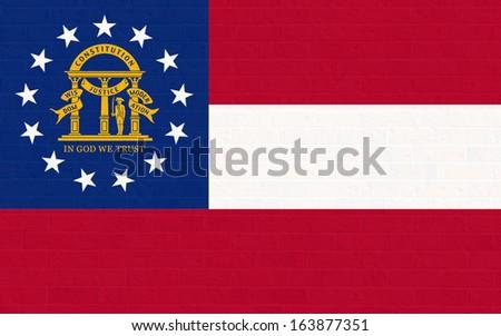 Georgia state flag of America, isolated on white background. - stock photo