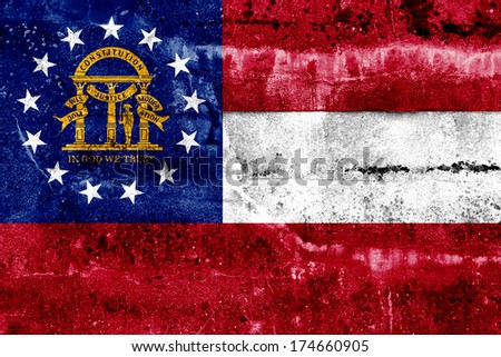 Georgia State Flag painted on grunge wall - stock photo