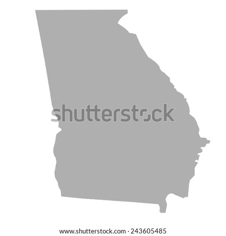 Georgia State map isolated on a white background, USA. - stock photo