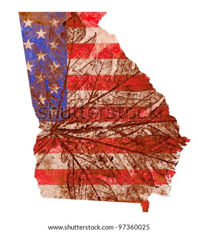 Georgia state of the United States of America in grunge flag pattern isolated on white background - stock photo