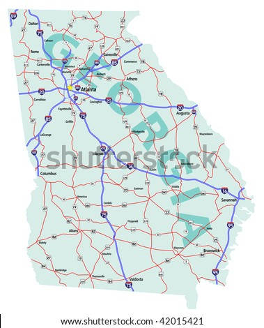 Georgia State Road Map With Interstates U S Highways And State Roads Vector Version Of