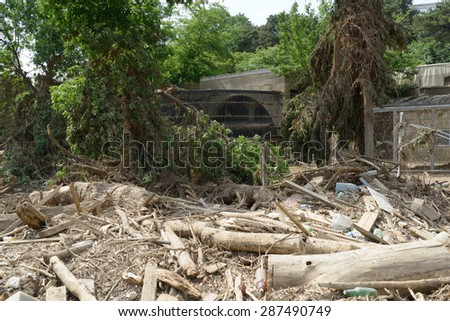 Georgia, Tbilisi, zoo. 15 june 2015: pile of rubble at the zoo after the flood - stock photo