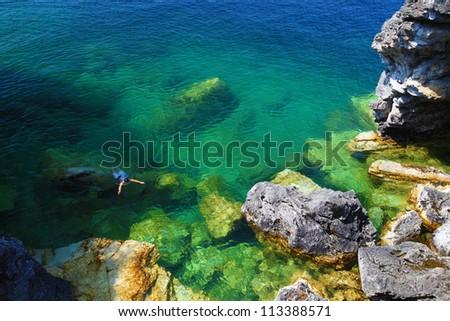 Georgian Bay shore at Bruce Peninsula Provincial Park, Ontario, Canada - stock photo
