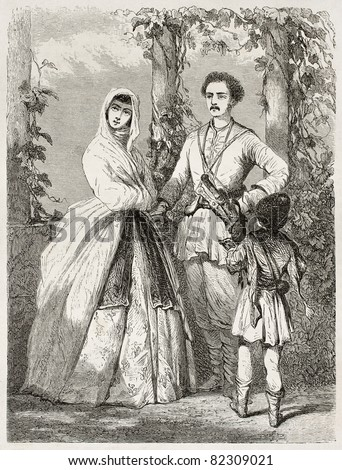 Georgian costumes old illustration. Created by Moynet, published on Le Tour du Monde, Paris, 1860