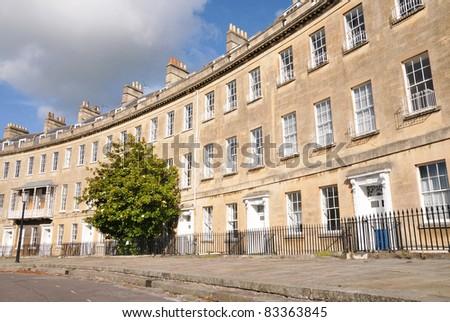 Georgian Crescent Town Houses in Bath England - stock photo