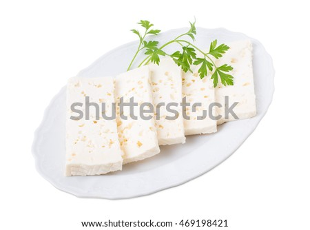 Georgian homemade soft cheese. Isolated on a white background.