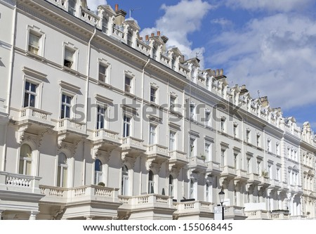 Georgian Stucco front houses in Kensington London - stock photo
