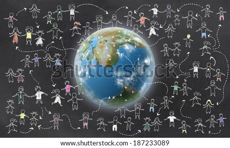 Geotargeting with Earth and Humans on Blackboard - stock photo