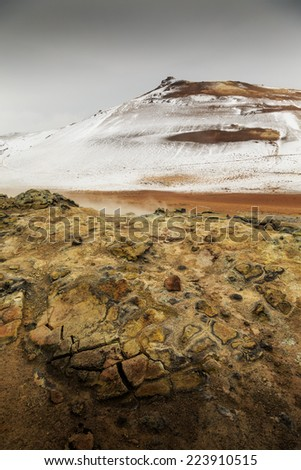 geothermal active volcanic area in North West Iceland - stock photo