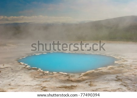 Geothermal activity with hot springs, Iceland