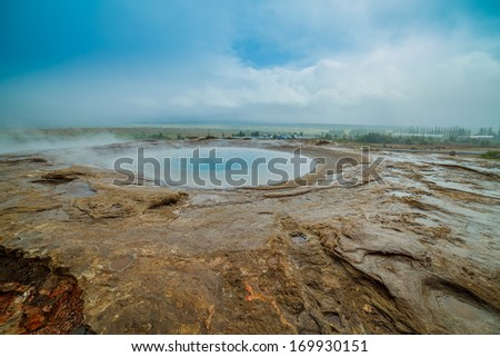 Geothermal activity with hot springs landscape, Iceland - stock photo
