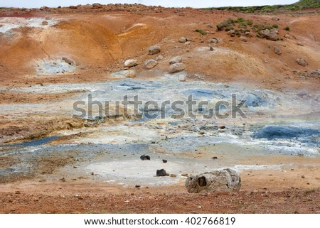 Geothermal area called Seltun. South of Iceland. - stock photo