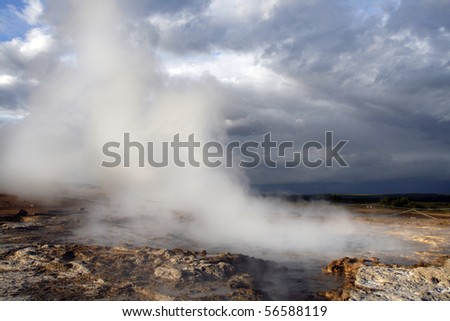 Geothermal area in Geysir region in Iceland. Famous geyser Stokkur just after the eruption.