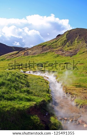 Geothermal bathing river with green grass and blue sky, Reykjadalur near Hengill volcano, Iceland