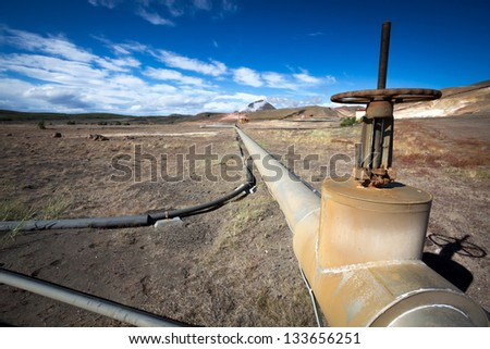 geothermal plant in iceland countryside - stock photo