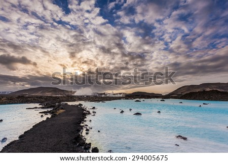 Geothermal pool in Blue lagoon in the morning, Iceland.