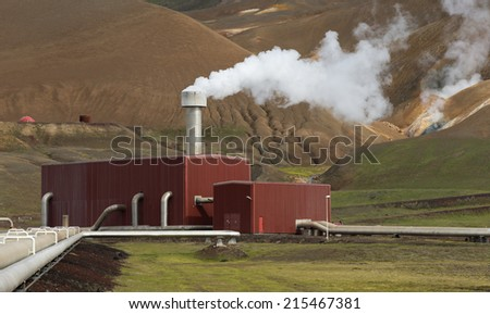 Geothermal Power Plant Station in the Krafla Volcanic Region Iceland - stock photo