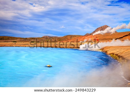Geothermal power station and hot water lagoon in Iceland - stock photo