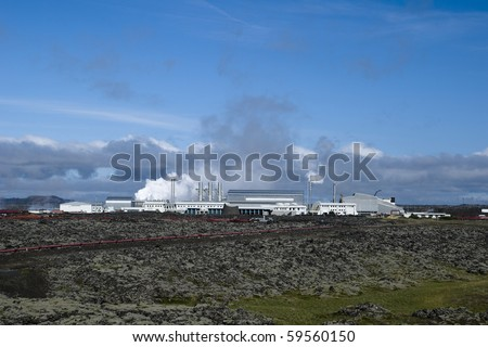Geothermal power station in Iceland - stock photo