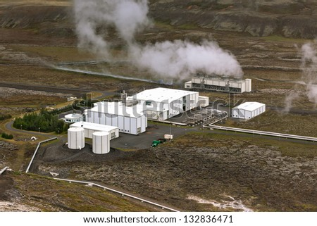 Geothermal Power Station in Iceland. View from above - stock photo