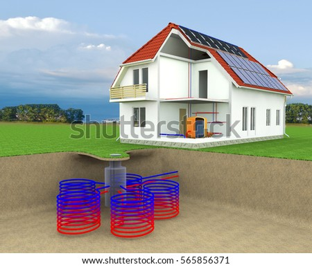 Solar wind power house 3d concept stock illustration for Alternative heating systems for homes