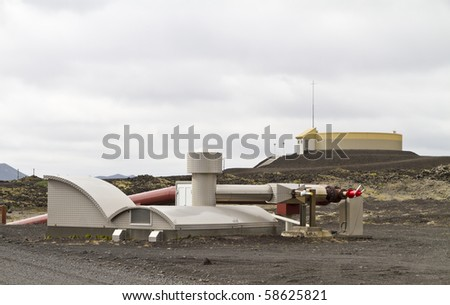 Geothermal powerstion built on a lavafield in Iceland - stock photo