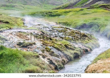 Geothermally active valley of Haukadalur. Thermal springs. Iceland. - stock photo