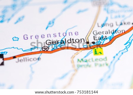 Geraldton Canada On Map Stock Photo 753181144 Shutterstock
