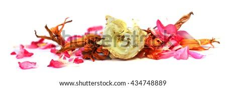 geranium, petunia, dry volume delicate flowers, leaves and petals of pressed, iris, rose, marigolds, Aquilegia pelargonium, isolated on white background scrapbook - stock photo