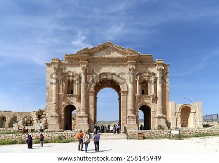 GERASA (JERASH), JORDAN- APRIL 05, 2014:Arch of Hadrian in Gerasa (Jerash)-- was built to honor the visit of emperor Hadrian to Jerash in 129/130 AD, Jordan
