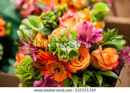 Gerbera and Variation of flowers, bouquet