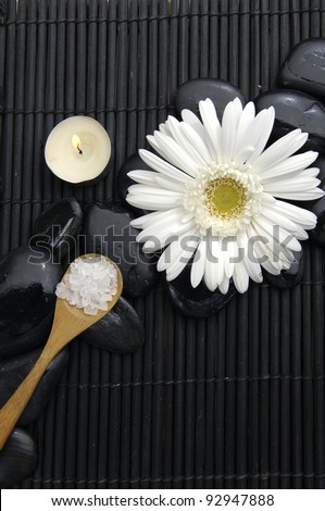 gerbera flower and flower with candle on pebbles - stock photo