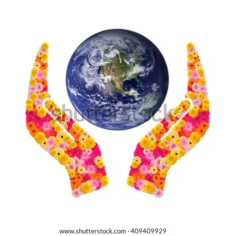 Gerbera hand sign and world isolated on white background. Elements of this image furnished by NASA