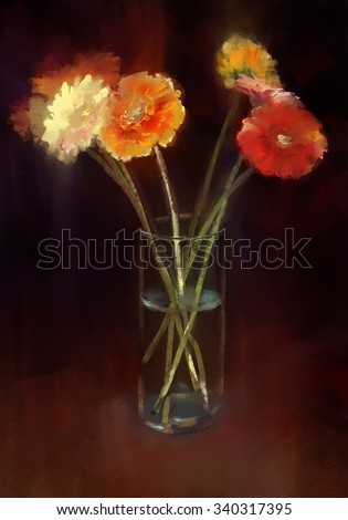 Gerbera in a glass vase, abstract dark background. Digital painting.