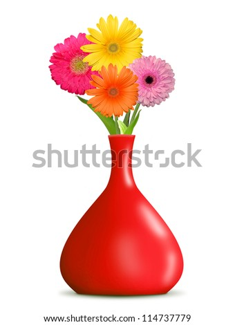 gerberas in the red vase isolated on white background - stock photo