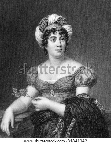 Germaine de Stael (1766-1817). Engraved by E.Scriven and published in The Gallery Of Portraits With Memoirs encyclopedia, United Kingdom, 1833. - stock photo