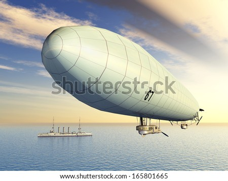 German Airship and German Light Cruiser from the First World War Computer generated 3D illustration - stock photo