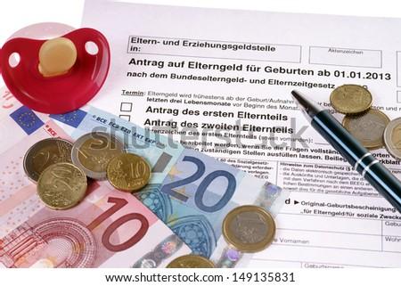 German application for parents money with pacifier and euro money / parents money