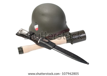 German Army helmet, hand grenade an bayonet world war II period isolated on a white background - stock photo