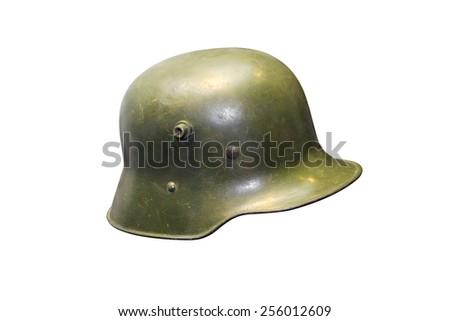 German Army helmet World War II period. On a white background - stock photo