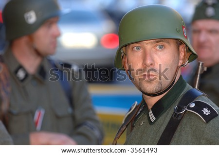 "German Army invades Dublin to publicize Holocaust play by John MacKenna, Olympia Theatre, Dublin ""Who by Fire"""