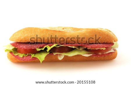 German Baguette-roll isolated on white