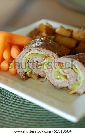 German Beef Rouladen Stuffed Rolls - stock photo