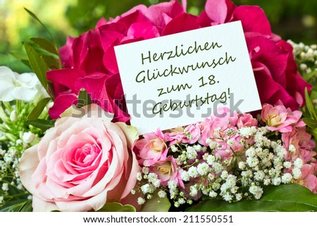German birthday card with pink flowers/congratulation on your 18th birthday/english - stock photo