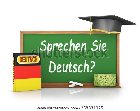 German book with a flag and a chalk board on which is written - Do you speak German? - stock photo